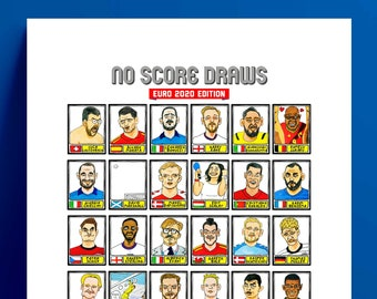 Euro 2020 - No Score Draws Euro 2020 Edition - A3 print of 36 wonky hand-drawn Panini-style Euro 2020 doodles - Cheapskate football art