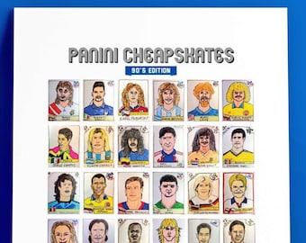 Panini Cheapskates 90s Edition - A3 Hand-Drawn Football Sticker Print Featuring 36 1990s Panini Sticker Icons