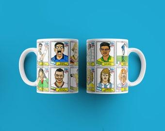 USA '94 No Score Draws Mug Set - Set of TWO 11oz Ceramic Mugs with Wonky Panini sticker-style World USA '94 No Score Draws Doodles