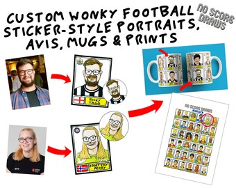 Custom Wonky Football Sticker Portraits, Prints and Mugs - You As A Poorly-Drawn Footballer - Panini-Style Personalised Avatar & Profile Pic