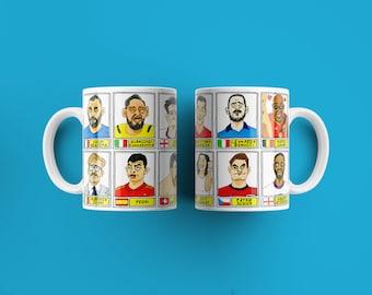 Euro 2020 No Score Draws Mug Set - Set of TWO 11oz Ceramic Mugs with 24 Wonky Panini sticker-style Euro 2020 No Score Draws Doodles