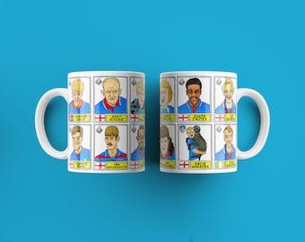Oldham Athletic No Score Draws Mug Set - Set of TWO 11oz Ceramic Mugs with Wonky Panini sticker-style OAFC Latics No Score Draws Doodles