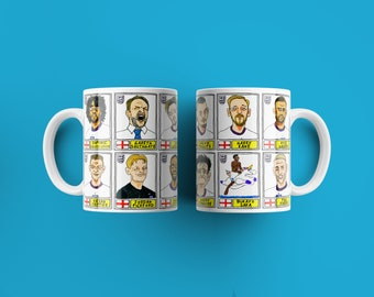 England Vol 2 No Score Draws It's Coming Home Mug Set - Set of TWO 11oz Ceramic Mugs with Panini-style doodles of England's Euro2020 Heroes