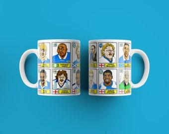 Peterborough Utd Vol 2 Mug Set - Set of TWO 11oz Ceramic Mugs with Wonky Panini-style No Score Draws Doodles of various historic PUFC icons