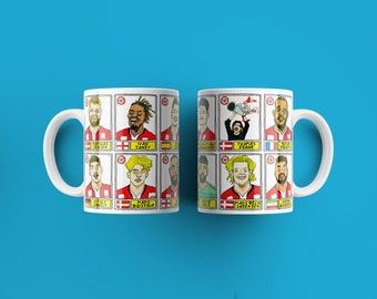 Brentford Vol 2 No Score Draws Mug Set - Set of TWO 11oz Ceramic Mugs with Wonky Panini-style No Score Draws Doodles Of BFCs playoff-winners