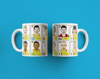 PES United Master League No Score Draws Mug Set - Set of TWO 11oz Ceramic Mugs with Wonky Panini-style No Score Draws Pro Evo Doodles