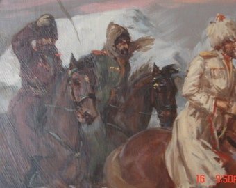 3 kossaken (casakes) oil painting on board