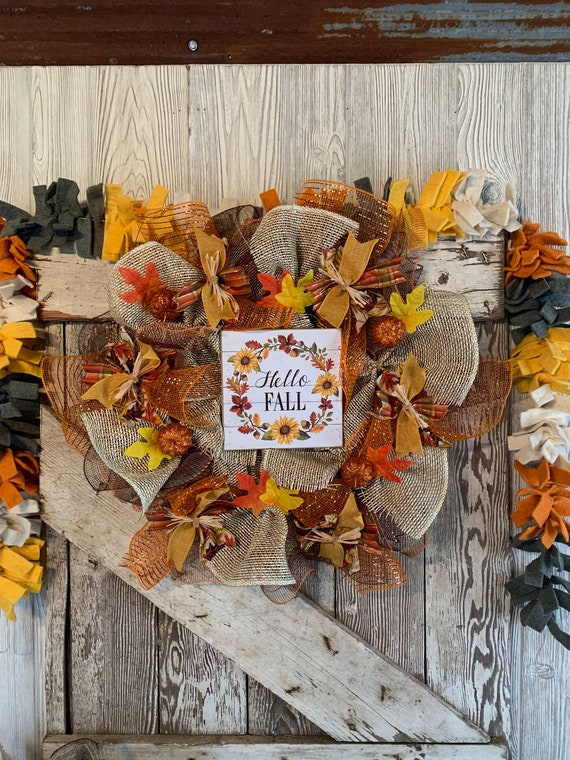 Handmade Fall Deco Mesh Wreath