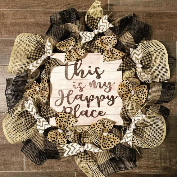 Handmade Farmhouse Rustic This is my Happy Place Wreath