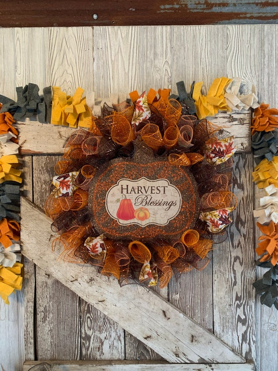 Handmade Harvest Blessings Deco Mesh Wreath