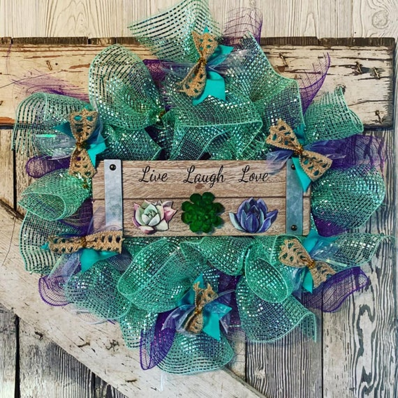 Handmade Live Laugh Love Succulent Summer Wreath