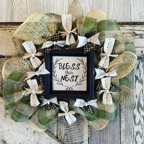 Handmade Farmhouse Rustic Bless This Next Wreath