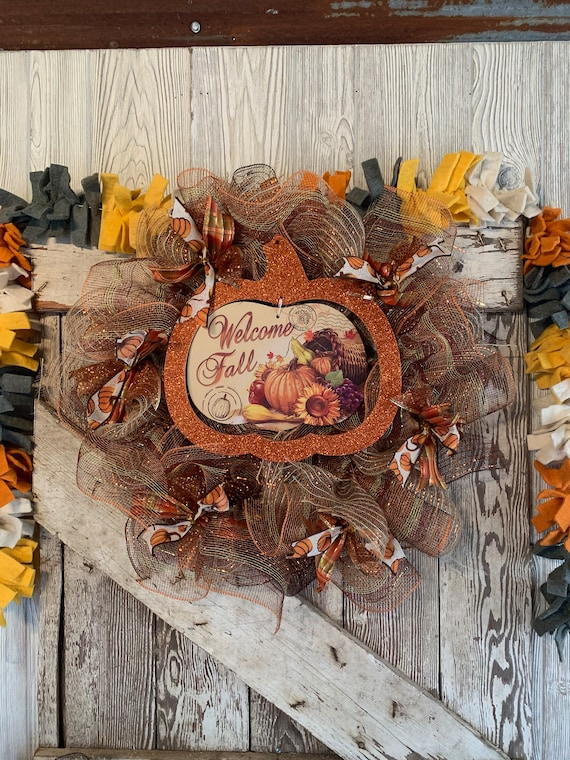 Handmade Welcome Fall Deco Mesh Fall Wreath