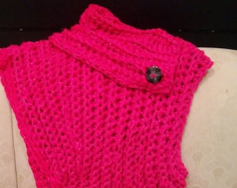 Pink sideway knitted vest