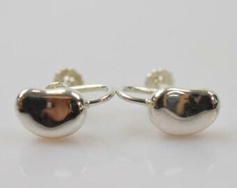 336632f82 Tiffany & CO. Pristine Condition Elsa Peretti Signed Sterling Silver Bean  Earrings