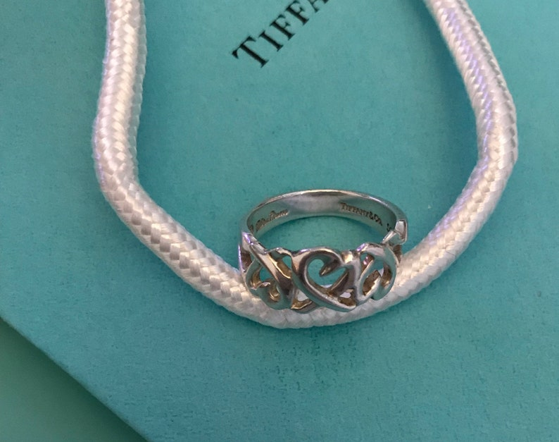 7a2bb14af407 Tiffany and Co Ring Paloma Picasso Triple Heart Sterling