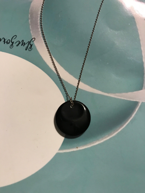 d22add441 TIFFANY Elsa Peretti Black Jade Circle Pendant Charm Sterling | Etsy