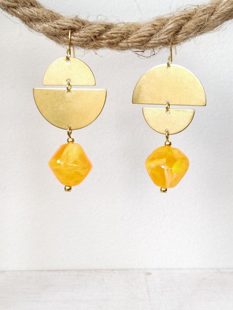 Gold brass half moon dangle earrings  bead dangle earrings  brass earrings  lightweight earrings  Gift for her  summery earrings