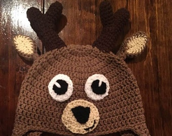 Crochet deer beanie hat with ear covers and braids 0841560b109
