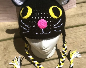 812400c61dd Crochet black kitty cat beanie hat with ears and braids