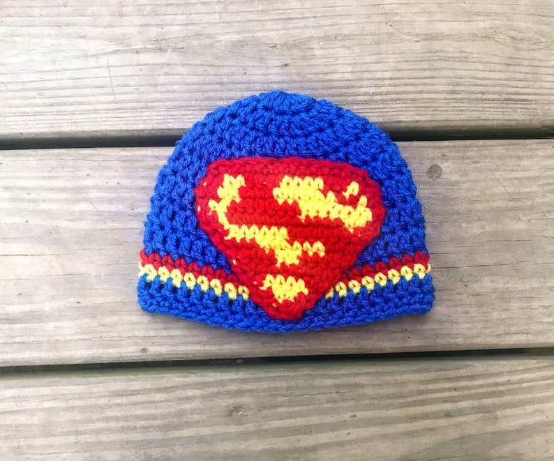 a08f9463084 Crochet superman super hero beanie hat