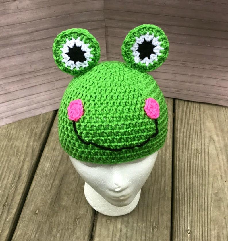 9d685be146e Crochet frog beanie hat