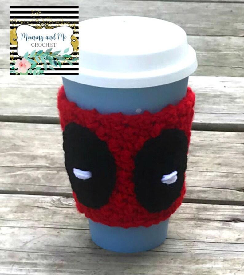 Deadpool Crochet Coffee Cozy Cozies Sleeve image 0