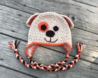 Crochet puppy dog beanie hat with ear covers and braids
