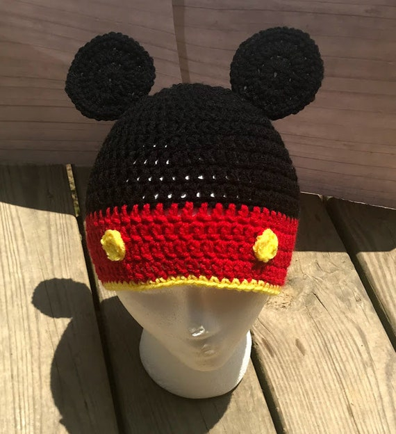 04d45af6822 Crochet mickey mouse ears beanie hat