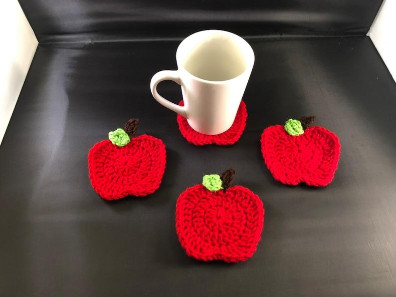 set of 4 coasters Crochet teacher apple coasters