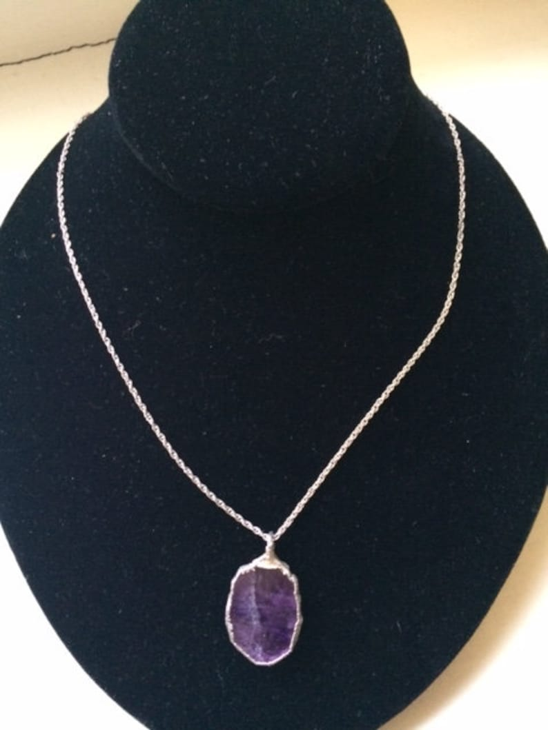 Vintage Amethyst and Sterling Silver Pendant with Chain