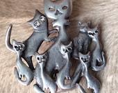 Vintage beautiful silver tone cats 39 portrait brooch.
