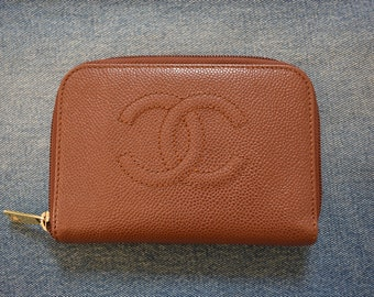 f90b210dc7995d Authentic Vintage Chanel Brown Caviar Leather Wallet