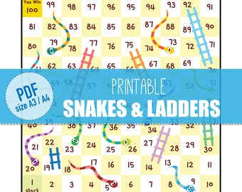 Printables Snakes And Ladders Board Game