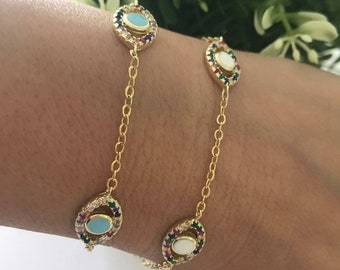14k Solid Gold Turkish Evil Eye Bracelet Protection Jewelry-Good Luck Charms Bead For Women-Handmade Fine Blue Glass Eyes Shop istanbul