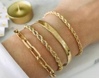 Cuban Chain Bracelet; Gold Chain Bracelet Women,18K Gold Filled Chain Bracelet Chunky Link Chain Bracelet 18K Gold Filled Cuban Chain