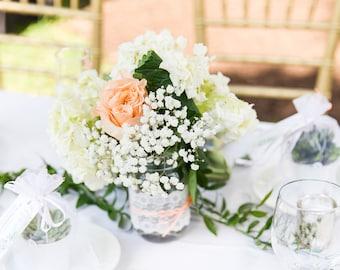 Lace decorated mason jars