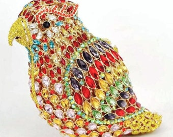 Bejeweled Red Parrot Clutch