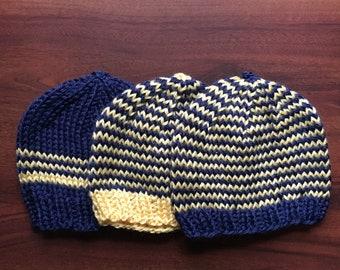 Hand Knit Baby Hat; newborn hat, knit baby cap, infant hat, baby shower gift, newborn gift, yellow baby hat, winter knitted hat, baby beanie