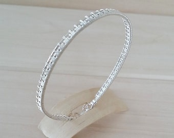 Bracelet Egyptian silver plated copper wire braiding
