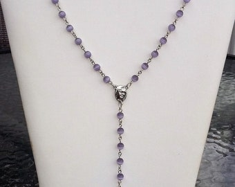 Beautiful Hand-Made Lavender Purple Cats Eye Rosary Necklace