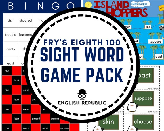 Fry 800 Sight Word Games (Eighth Hundred) - Bingo, Dominoes, Checkers, Roll  & Read, and other Board Games