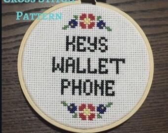 Phone Wallet Keys Subversive cross stitch with leaves