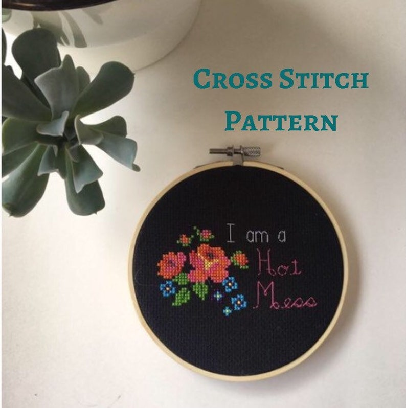 floral sassy cross stitch instant download counted cross stitch gift hot mess Cross stitch pattern PDF flowers