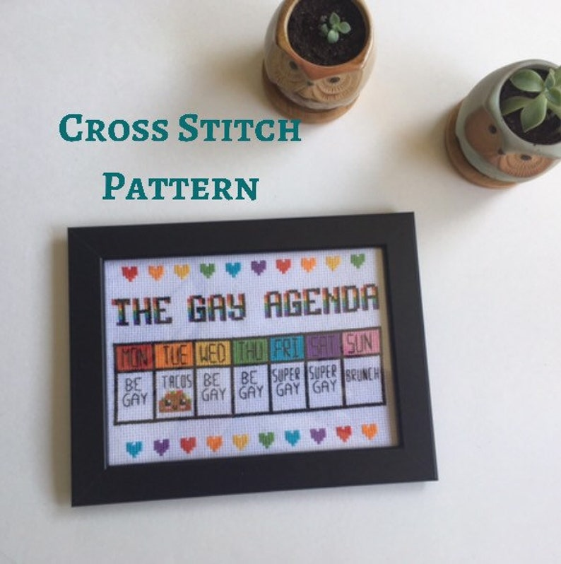 Cross stitch pattern PDF instant download Gay agenda funny counted cross stitch pride