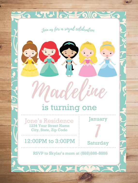 Disney Princess Birthday Invitation Party
