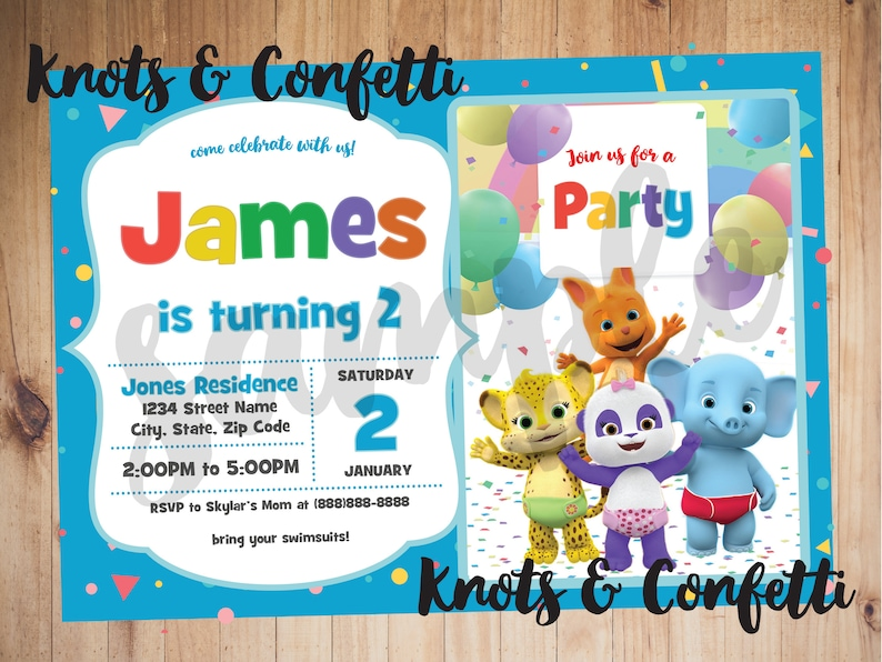 Word Party Invitation Birthday Theme Decorations Sign