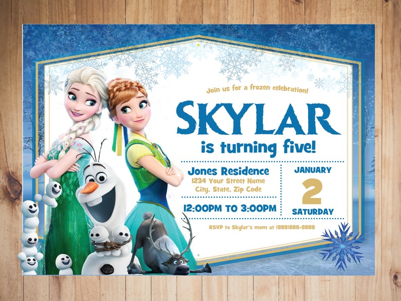 Frozen Birthday Invitation Party Disney Princess