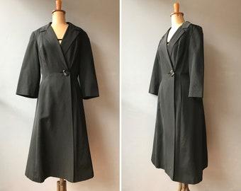 219c4573 Vintage 1950s Black Silk Faille Dress Coat / Long Coat / 50s / Small -  Medium
