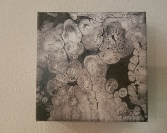 Original Black and White Acrylic Pour Painting